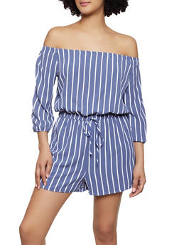 1f5d05a7942 Striped Crepe Knit Off the Shoulder Romper - 0045051061295