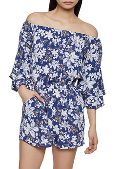 Off the Shoulder Tiered Bell Sleeve Romper - NAVY - 0045051061296
