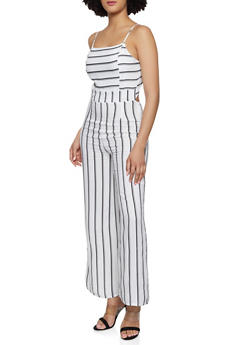 Striped Tie Back Jumpsuit - 0045051061298