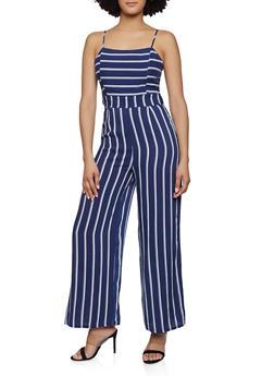 Striped Tie Back Jumpsuit - 0045051061298