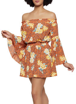 Leopard Floral Off the Shoulder Romper - 0045051061311
