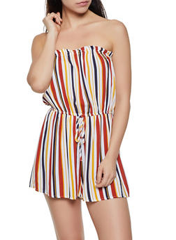 Striped Strapless Romper | 0045051061318 - 0045051061318