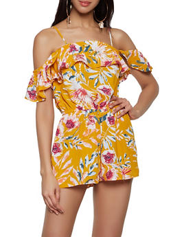 Floral Ruffled Off the Shoulder Romper - 0045051061345