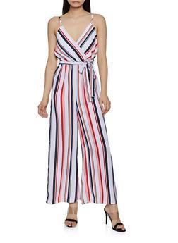 Striped Tie Waist Palazzo Jumpsuit - 0045051061347