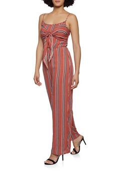 Striped Keyhole Back Jumpsuit - 0045051061348