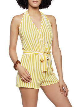 Crepe Knit Striped Halter Romper - 0045051061379