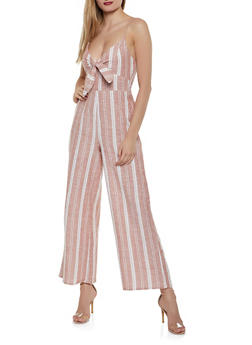 Striped Bow Palazzo Jumpsuit - 0045051061388