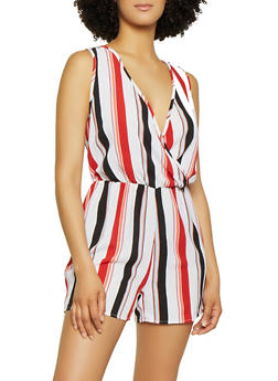 Striped Faux Wrap Sleeveless Romper - 0045051061401