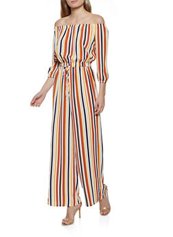 Striped Off the Shoulder Wide Leg Jumpsuit - 0045051061405