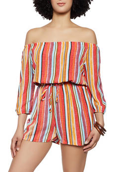 Off the Shoulder Striped Crepe Knit Romper - 0045051061408