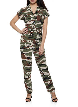 Half Button Camo Jumpsuit - 0045051061411
