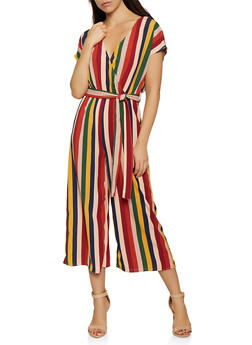 Striped Tie Waist Crepe Knit Jumpsuit - 0045051061412