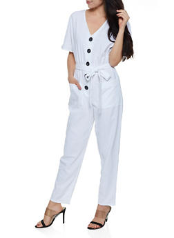 Half Button Linen Jumpsuit - 0045051061437