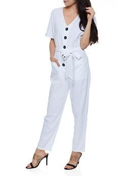 Half Button Linen Jumpsuit - 0045051061437