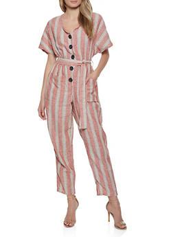 Striped Button Front Linen Jumpsuit - 0045051061445