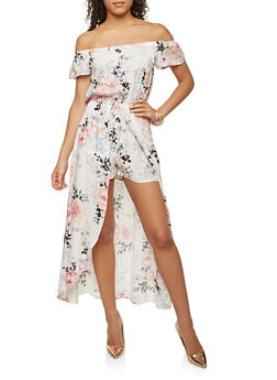 Off the Shoulder Printed Maxi Romper - 0045051062117