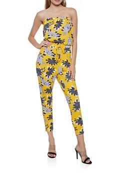 Floral Drawstring Waist Jumpsuit - 0045051062292