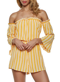 Striped Ruffle Off the Shoulder Romper - 0045051062332