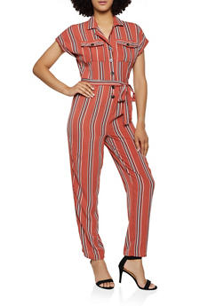 95778dc8f Striped Button Crepe Knit Jumpsuit - 0045051062411