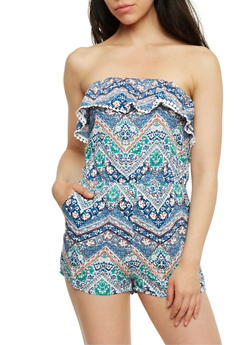 Printed Strapless Romper with Flounce Overlay - 0045051063015
