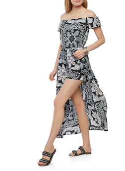 Off the Shoulder Printed Maxi Romper - 0045051063117