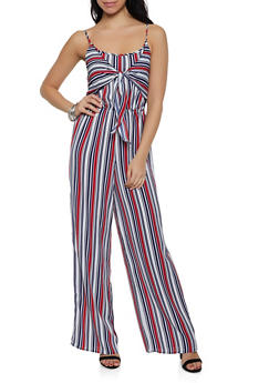 Smocked Striped Tie Front Jumpsuit - 0045051063290