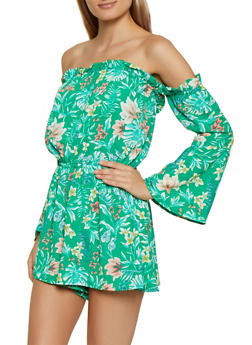Floral Off the Shoulder Crepe Knit Romper - 0045051063332