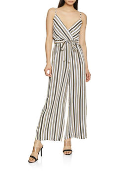 Striped Faux Wrap Palazzo Jumpsuit - 0045051063347