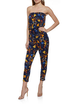 Brushed Knit Floral Tube Jumpsuit - 0045051064292