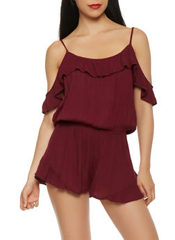 Ruffle Trim Off the Shoulder Romper - 0045054260452