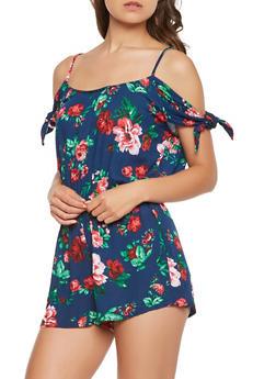 Floral Tie Sleeve Romper - 0045054260591