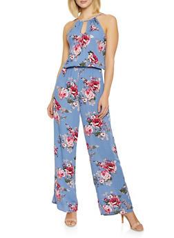 Floral Keyhole Cami Jumpsuit - 0045054260776