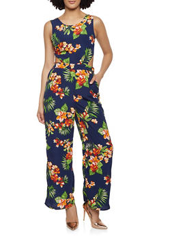 Cut Out Tie Back Floral Jumpsuit - 0045054260806