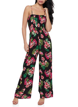 Smocked Floral Wide Leg Jumpsuit - 0045054260842