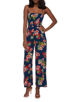 Smocked Floral Wide Leg Jumpsuit - 0045054260842