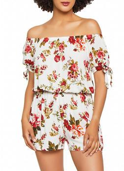 Cinched Waist Off the Shoulder Floral Romper - 0045054260906