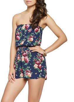 Smocked Waist Floral Romper - 0045054261497