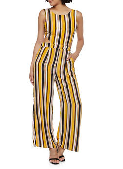 Striped Tie Back Wide Leg Jumpsuit - 0045054261806