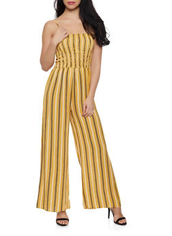 Striped Smocked Jumpsuit - 0045054261842