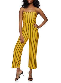 Wide Leg Sleeveless Striped Jumpsuit - 0045054265941