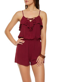 Ruffled Lace Up Romper - 0045054269918