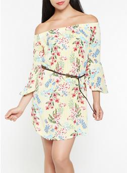 Striped Floral Off the Shoulder Dress - 0045058752164