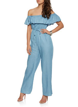 Ruffled Off the Shoulder Denim Jumpsuit - 0045058753072