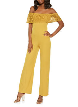 Crochet Overlay Off the Shoulder Jumpsuit - 0045058753095