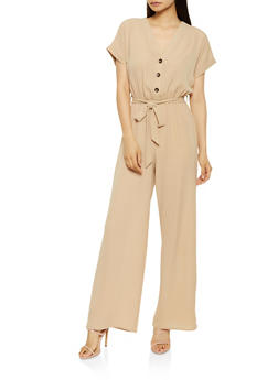Button Front Wide Leg Jumpsuit - 0045058753280