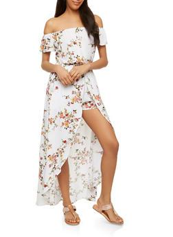 Off the Shoulder Floral Maxi Romper - 0045058753485
