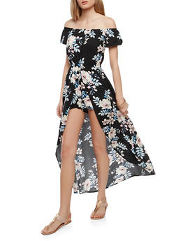 Off the Shoulder Floral Maxi Romper - 0045058753487