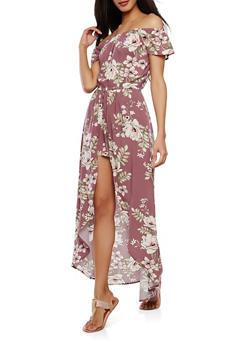 Off the Shoulder Floral Maxi Romper - 0045058753487
