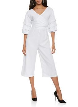 Faux Wrap Striped Gaucho Jumpsuit - 0045058753790