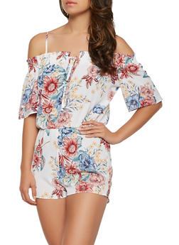 Smocked Off the Shoulder Floral Romper - 0045058753808